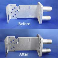 before and after photos of an aluminum housing with electroless nickel