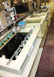 Electroplating baths at Hi-Tech Plating in Everett, MA